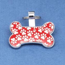 Red Bone Pet Tag Paw Print