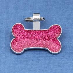 Bone Pet Tag Pink Glitter