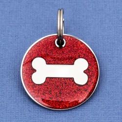 Red Glitter Bone Dog Id Tag