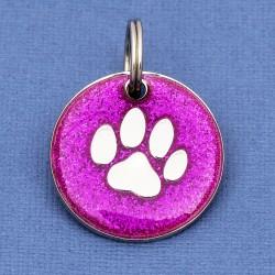 Purple Glitter Paw Dog Id Tag
