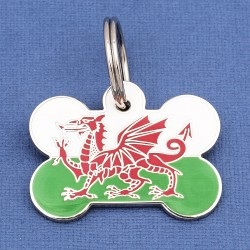 Welsh Flag Pet Tag Bone