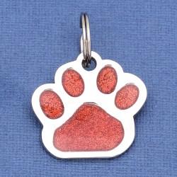 Glitter Paw Pet ID Tag Red