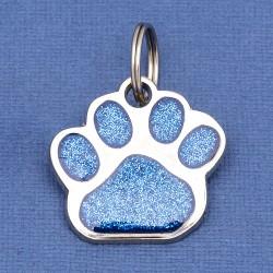 Glitter Paw Dog ID Tag Blue