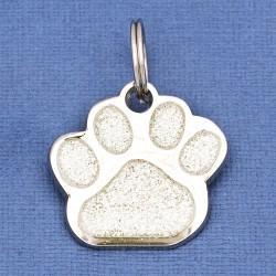 Glitter Paw Dog ID Tag Silver