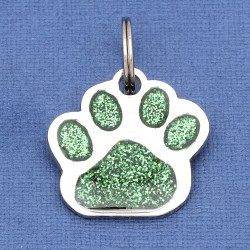 Glitter Paw Dog ID Tag Green