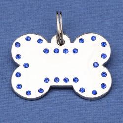 Luxury Crystal Dog ID Tag Blue Bone