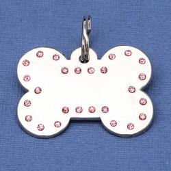 Luxury Crystal Dog ID Tag Pink Bone