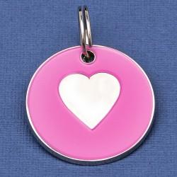 25mm Pink Heart Pet Id Tag
