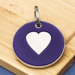 25mm Purple Heart Pet Id Tag
