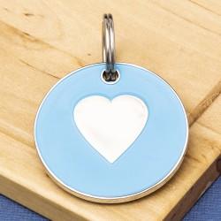 25mm Blue Heart Pet Id Tag