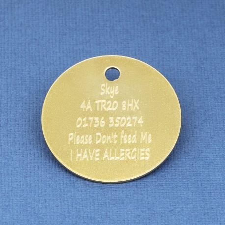 30 mm Brass Pet Id Tag